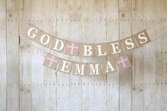 God Bless Banner Baptism BannerChristening by BannerStBoutique, $30.00