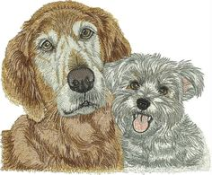 2 Dogs free embroidery design - Animals free machine embroidery design - Machine embroidery forum