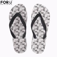72a6870ab FORUDESIGNS Summer Women Flip Flops Cartoon Cat Print Slip-ons. Cat Shoes,  Beach ...