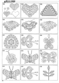 a TON of crochet pattern diagrams - and I mean page after page.  Round motifs, square ones, triangles, edgings, lace - on and on and on.  Great resource.previous pinners words jj