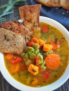 Vegetarian Split Pea & Sweet Potato Soup is a brighter and healthier version of split pea soup. Full of color, flavor and nutrient dense this soup is a must try recipe!