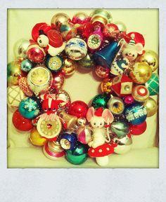 DIY - Vintage Christmas Ornament Wreath by death by cupcake, via Flickr