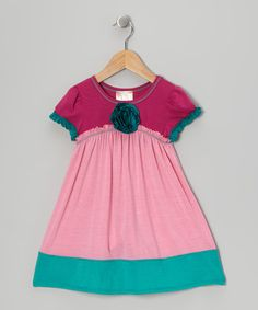 Take a look at this Pink & Turquoise Babydoll Dress - Toddler & Girls by Pink Vanilla on #zulily today!