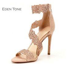 bbb93945b38a EDEN TONE Sexy Ankle Wrap Women s Sandals High Heels Open toe Back Zipper Woman  Shoes-in Women s Sandals from Shoes on Aliexpress.com