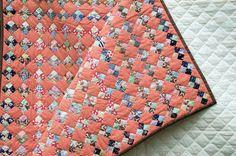 Vintage Small Scale Four Patch Quilt Handqltd 1930s Fabrics 70x82 Excellent Cond | eBay