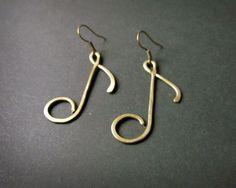 Note Earrings, Wire Wrapped Brass. $8.00, via Etsy.