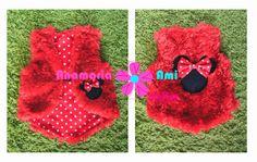 Vestuta blanita rosie mini mouse by Anamaria Ami minnie fur vest girl red