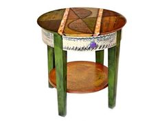 Studio 78 Hand-Painted Round End Table - The Studio 78 Hand-Painted Round End Table is a custom hand-painted side table with a single drawer, painted by Wendy Grossman. Made in USA.