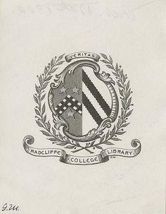 [Bookplate of the Radcliffe College Library] Ex Libris, Vintage Logo Design, Graphic Design, Library Logo, Images Vintage, College Library, Vintage Library, Libros, Symbols