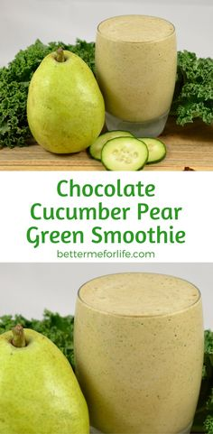 The sweetness of chocolate helps to take the edge off of the kale in this chocolate cucumber pear green smoothie. Besides, who doesn't like chocolate? Find the recipe on BetterMeforLife.com | cucumber green smoothie | green smoothie recipes | green smoothies | healthy green smoothies | green smoothies for weight loss | green smoothie | green smoothie recipes weight loss | green smoothie recipes diet #greensmoothies #greensmoothierecipes #greensmoothie #green_smoothie
