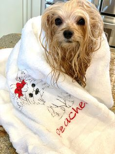 Towel Embroidery, Embroidered Towels, Cotton Towels, Hand Towels, Girls World, Dog Names, Bath Time, Etsy App, Large White