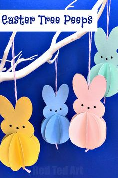 Easy Paper Peeps Bunny Decoration - Red Ted Art Crafts for kids. Learn how to make an easy paper Peeps Bunny Decoration for the Easter Tree. An easy paper ra Toilet Paper Crafts, Paper Crafts For Kids, Craft With Paper, Diy Paper, Easy Easter Crafts, Easter Art, Paper Easter Crafts, Easy Crafts, Rabbit Crafts
