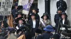 """Scene from """"Suffragette"""" (Meryl Streep, Carey Mulligan, Helena Bonham Carter, and maybe that's Romola Garai?)--first film permitted to use the House of Commons as a set, now in production, directed by Sarah Gavron."""