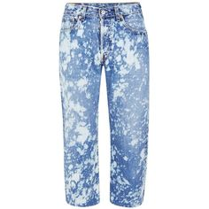 Topman Finds Blue Acid Bleached Cropped Jeans ($23) ❤ liked on Polyvore featuring men's fashion, men's clothing, men's jeans, blue, mens blue jeans, mens bleached denim jeans, mens button fly jeans, mens cropped jeans and mens vintage jeans