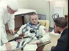 Neil Armstrong Pictures: Astronaut Neil Armstrong in Launch Complex 16 trailer during suiting up