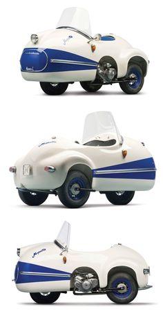 Brütsch Mopetta, a fiberglass-bodied and egg-shaped car with an average fuel consumption of 92 mpg, produced by Egon Brütsch. 14 were built between 1956 and 1958.