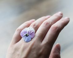 Pansy flower ring  pansy jewelry  viola jewelry by GentleDecisions