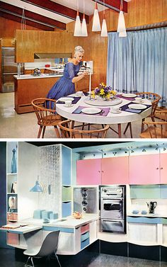 Women loved to spend their days in dresses cooking for their husbands boss to come to dinner. Mid-century Interior, Kitchen Interior, Home Interior Design, Interior Decorating, Decorating Hacks, Decorating Kitchen, Kitchen Furniture, Home Design, Design Design