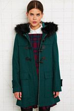 Under my tree <3 Cooperative Fur Trim Duffle Coat in Green at Urban Outfitters