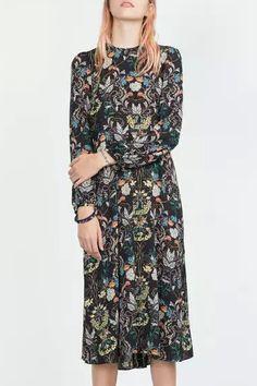 Long Sleeve Floral Print Chiffon Midi Dress