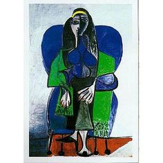 (16x20) Pablo Picasso Woman With Green Scarf Art Print Poster