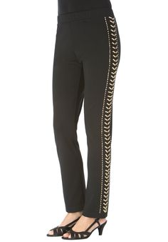 Embellished Straight Leg Pants | Plus Size Pants & Skirts | fullbeauty