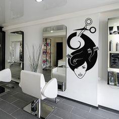 Wall decal decor decals sticker art stylist mirror hair salon beauty hairdryer scissors comb girl laying haircut hairdresser