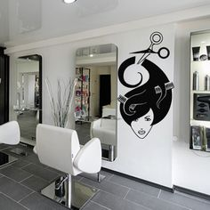 Wall decal decor decals sticker art stylist mirror hair salon beauty hairdryer scissors comb girl laying haircut hairdresser