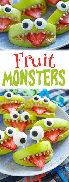 Healthy Halloween Snacks and Treats for Kids -- the perfect party food! Halloween Fruit Monsters (made with apples and strawberries)