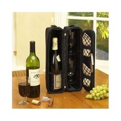 Wine Carrier Tote Insulated For 2 Wine Glasses Napkins Corkscrew Thermal Black   #PicnicatAscot