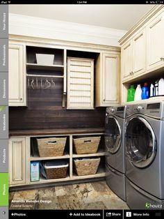I like the idea of staining planks and putting behind washer and dryer for a nice texture and element