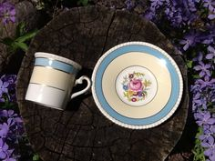 Cute springtime teacup and saucer set blue with by Glassthatrocks, $10.00