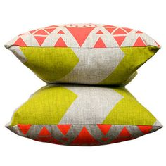 Cushion Double Sided Lime Chevron and Neon Red by ThePrintSociety, $60.00