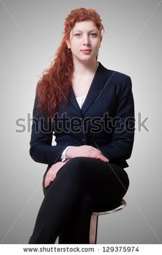 Sitting Success Business Woman With Long Red Hair On White Background Foto Stock: 129375974 : Shutterstock $200