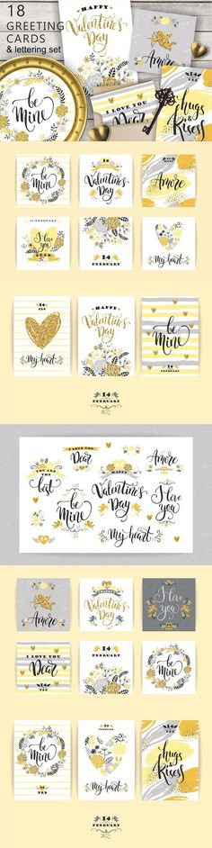 18 greeting cards Valentine's Day. Wedding Card Templates