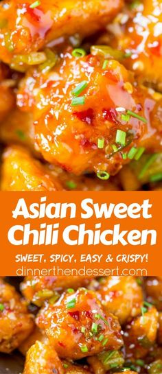 Asian Sweet Chili Chicken - Dinner, then Dessert- Asian Sweet Chili Chicken is so crispy, sticky, sweet, slightly spicy and completely addicting you won& even miss your favorite Asian takeout. Sweet Chili Chicken, Sriracha Chicken, Smoked Chicken, Lime Chicken, Cooking Recipes, Healthy Recipes, Spicy Food Recipes, Chili Recipes, Cooking Games