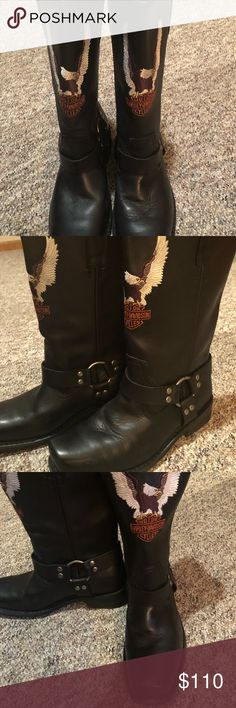 """Harley Davidson Darren motorcycle boots """"Excellent"""" condition.. Very gently worn for a few days! Slight scuff at toe....Leather upper! Super durable! Harley-Davidson Shoes Boots"""