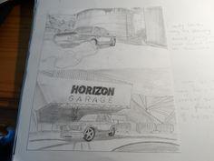 Graphite on paper - BMW 2002 drift car