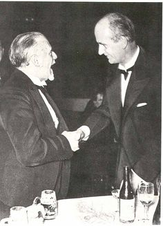 1933, London. After a concert of the London Philharmonic Orchestra conducted by Sir Thomas Beecham, the Berlin Philharmonic hosted a friendly diner. Furtwängler congratulates Beecham.