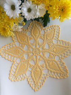 Lemon Yellow doily lace crochet doily 12.6 inches by EstersDoilies