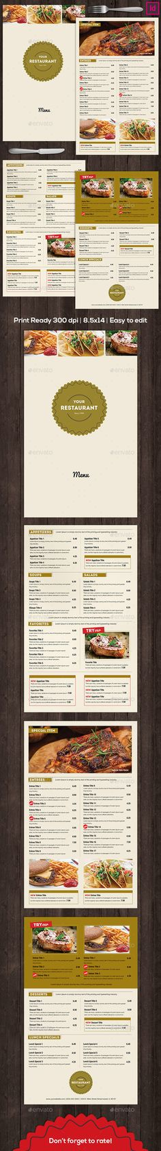 Best Restaurant Food Menu Templates  Psd  Indesign