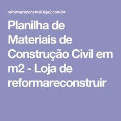 Planilha de Materiais de Construção Civil em m2 - Loja de reformareconstruir