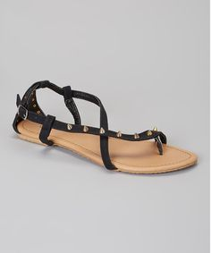 Take a look at the Odell Black Stud Sandal on #zulily today!
