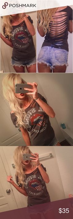 👅 VINTAGE Rolling Stones Band Tee ✂️ ᴄᴜsᴛᴏᴍ 👅 VINTAGE Rolling Stones Band Tee ᴄᴜsᴛᴏᴍ ✂️ ᴍᴀᴅᴇ  Vintage rock 'n' roll grunge  concert band T-shirt  Open bag with slits all the way down the back.  Semi distressed look. Crystal Rhinestones.  Size small.  Dark gray.  Rock 'n' roll Rolling Stones band Short sleeves Great condition Super sexy & stylish Hot Topic Tops Tees - Short Sleeve
