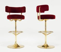 Set of 7 brass and red velvet barstools | From a unique collection of antique and modern stools at http://www.1stdibs.com/furniture/seating/stools/