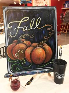 How to Paint Pumpkins in Fall at a Painting with a Twist night out! Fall Canvas Painting, Autumn Painting, Autumn Art, Tole Painting, Halloween Painting, Halloween Art, Primitive Painting, Simple Acrylic Paintings, Paint And Sip