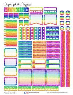 Free Printable Planner Stickers Rainbow Glitter Erin Condren Planner PDF