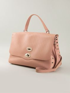 Pink leather 'Postina' satchel from Zanellato