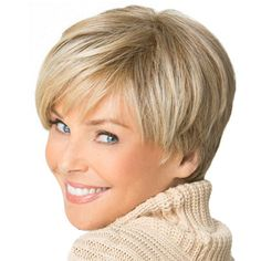 Elegant Gold Color Short Straight Full Wigs for Adult Natural Looking Synthetic Wigs Cosplay Wig
