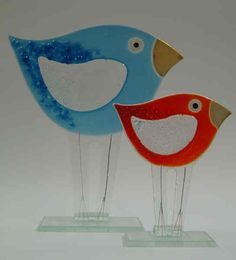 Free standing fused glass birds  Super cute!